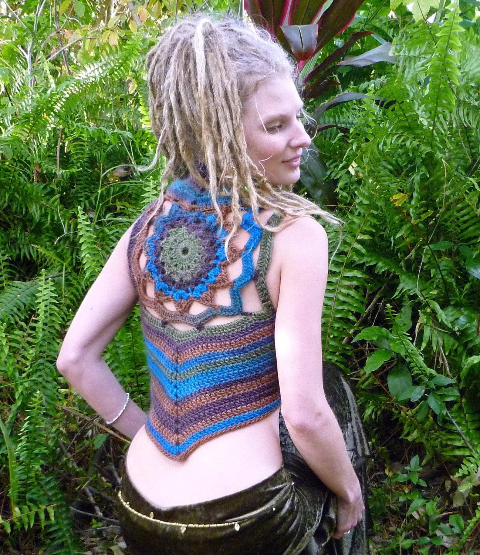 RESERVED Pixie Mandala Crochet Woolen Gypsy Vest by Wyldeskye