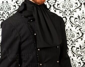 Victorian jabot for men, black cotton
