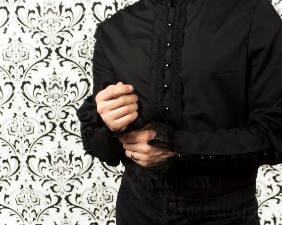 Victorian shirt for men with lace detail