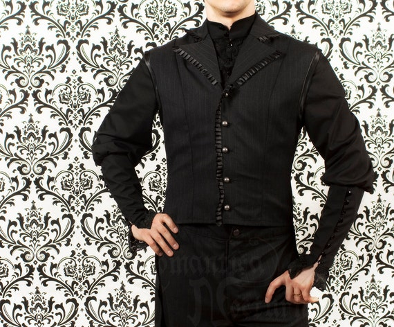Victorian men's pinstripe waistcoat with tail