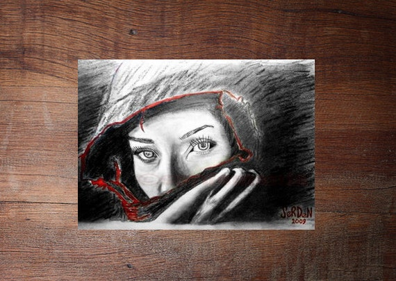 SECRET LOVE- original amazing realistic beautiful black red white woman  eyes drawing