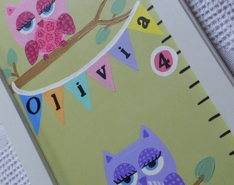 Owl Sorts of Adorableness---Hand Painted Personalized Framed Quality Handcrafted Wooden Growth Chart