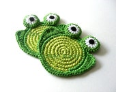 Sweet Green Frog Crochet Coasters . Beverage Drink Tea Coffee Pastel Nursery Decor Crochet Cute Collection - Set of 2 Made to Order