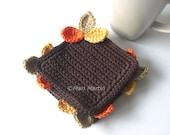 Wood Leaves Crochet Coasters . Orange Autumn Decoration Cream Beige Yellow Brown Chocolate Cocoa Coffee Decor Crochet Cute - Set of 4