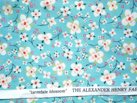 Alexander Henry fabric  'farmdale blossom' aqua FQ or more