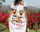 FRIDA Flowers PEACOCKs Vintage Mexican Hand Embroidered Dress Ties and Tassels L XL