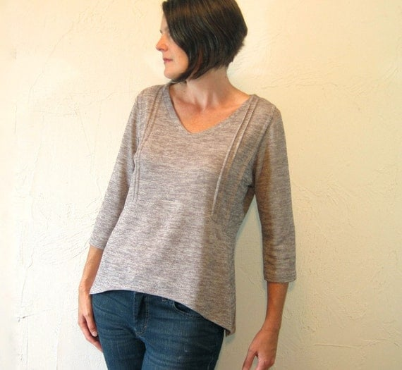 Pintuck Blouse - Heathered Grey Knit