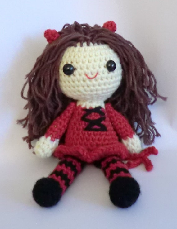 Sally the little devil trick or treat halloween amigurumi crochet pattern