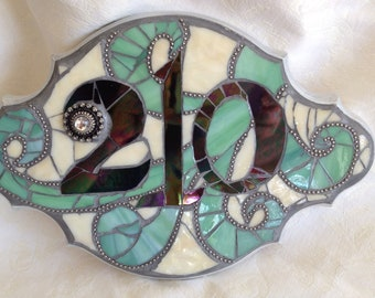 Stained Glass Mosaic House Numbers
