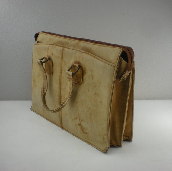 Vtg. Soft leather Briefcase Columbia - Laptop Bag - Worn Rustic