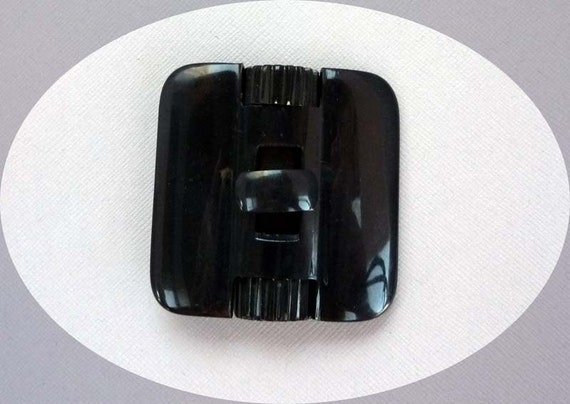 Vintage Black Plastic Buckle - Made in Czechoslovakia