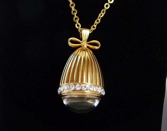 Joan rivers watch necklace rhinestone egg for Joan rivers jewelry necklaces