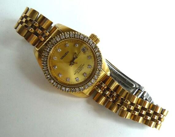 vintage gruen watch 3atm100ft water resistant quartz gold. Black Bedroom Furniture Sets. Home Design Ideas