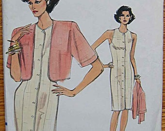 Misses' Sleeveless Dress, Jacket, Vogue 7736 Sewing Pattern UNCUT Sizes 8, 10, 12