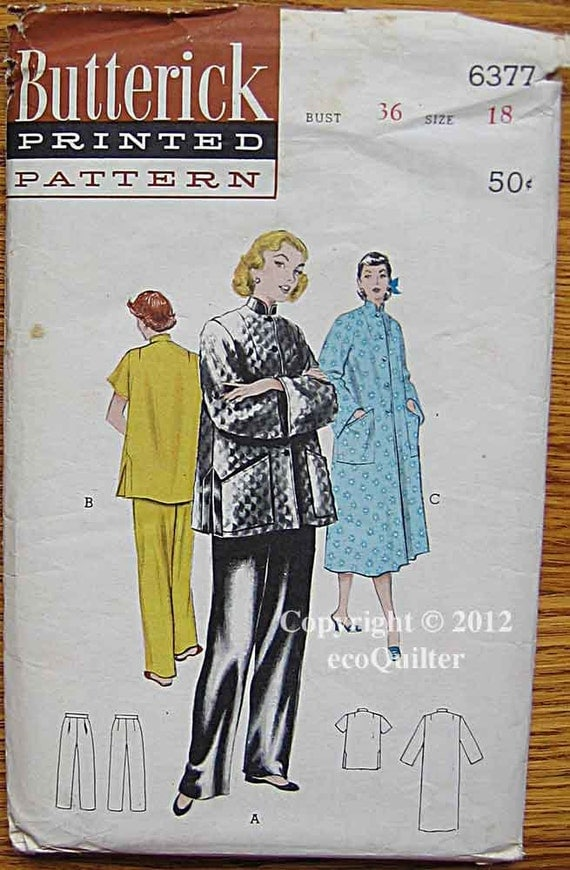 RARE Vintage 40's Misses Pajamas and Robe, Mandarin Type Details, Asian, Pants, Butterick 6377 Sewing Pattern UNCUT Size 18 Bust 36
