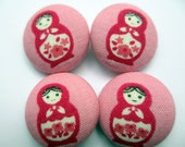 4 Pink Matryoshka Russian Dolls buttons 7/8 inches