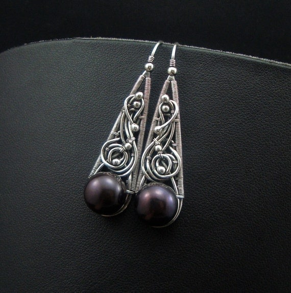 COLETTE - silver wire wrap earrings with freshwater pearls