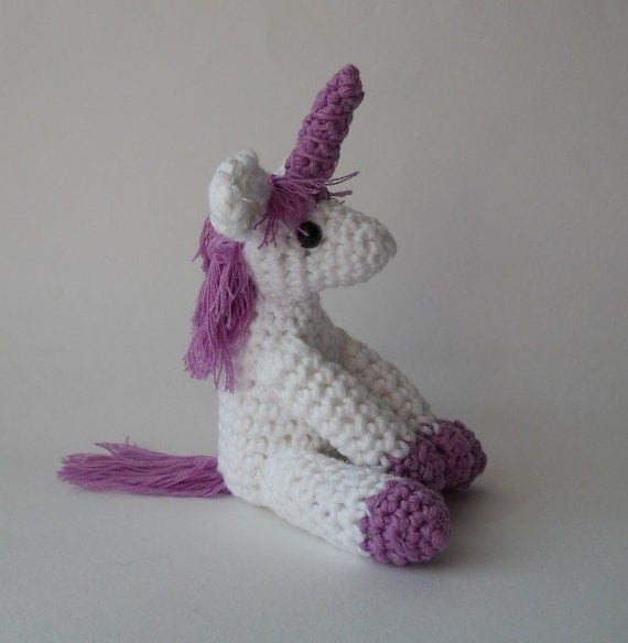 Crochet Unicorn Doll : Amigurumi crochet unicorn crocheted animal doll miniature white and ...