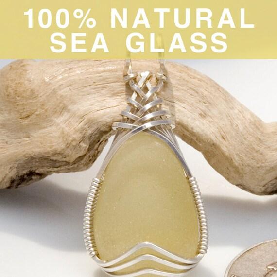 Soft Yellow Sea Glass Jewelry Pendant, English Beach Glass
