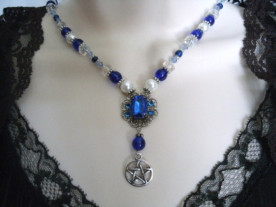 Saphire Glow Pentacle Necklace, wiccan jewelry witch pagan witchcraft magic occult metaphysical new age goth gypsy