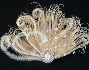 Peacock Wedding Bridal Hair Clip / Bridal Ivory Peacock Feather Hair Clip with pearl and rhinestones / peacock feather fascinator