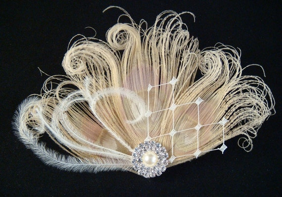 CUSTOM Peacock Wedding Bridal Hair Clip / Bridal Ivory Peacock Feather Hair Clip with pearl and rhinestones / peacock feather fascinator