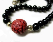 Vintage Black Onyx GemStone Beads and Carved Cinnabar Necklace