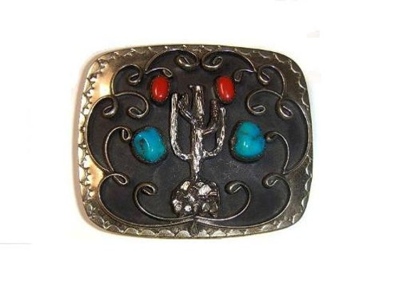 REDUCED Handcrafted Genuine Turquoise and Coral Nuggets Cactus Mans Mens Large Belt Buckle