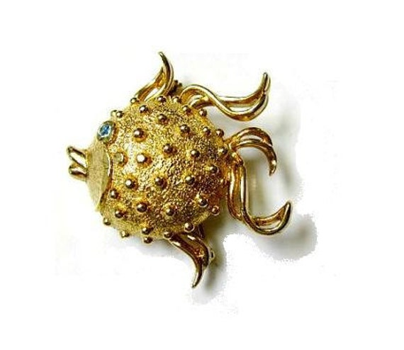 Vintage Puffer Fish Secret Hiding Stash Perfume Brooch Pin