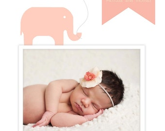 Elephant Photo Birth Announcement BOY GIRL ANNOUNCEMENT