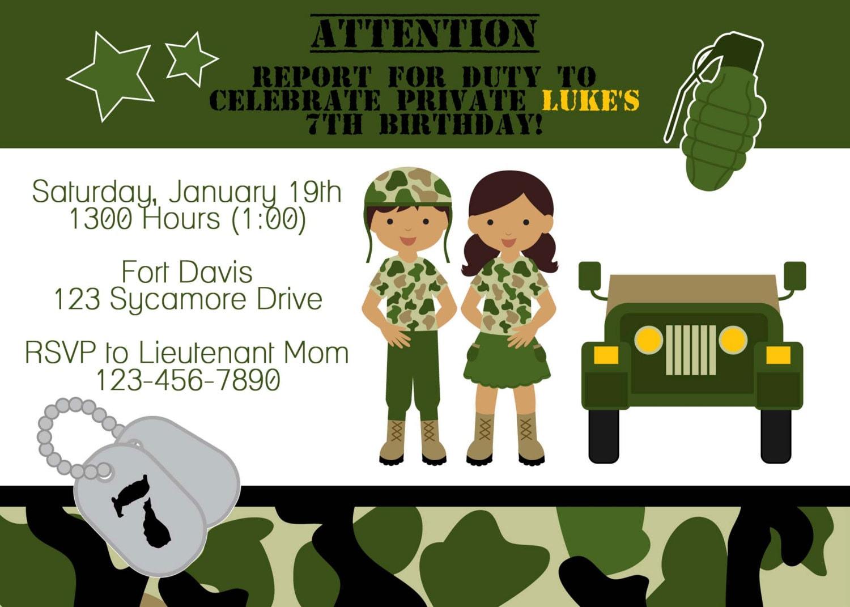 Doc Army Party Invitations Free Birthday Party Invitations – Army Birthday Cards