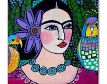 Frida TILE Frida Kahlo Art   Mexican Folk Art Ceramic Tile  Gift COASTER