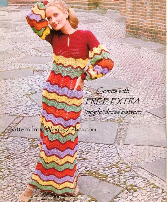 Crochet Dress Pattern Vintage PDF 095 BoHo ZigZag Maxi Dress from WonkyZebra