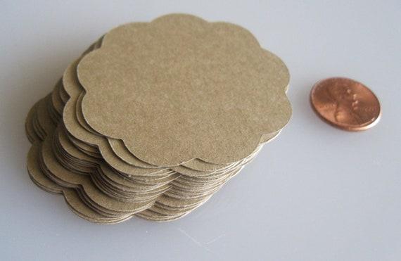 "30 Scalloped Tags/Kraft Paper/Size Small 2"""