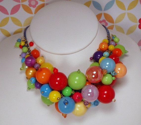 CLEARANCE Necklace Gumball Explosion Loaded Rainbow Charm Beaded Toybox Candy Miniature food Kawaii Plastic Over The Top Rainbow