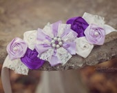 Maternity Sash Baby Girl - Purple Maternity Sash, Bridal Sash, Belt, Headband, Wedding -  Photo Prop - PositivelyWhimsy