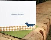 Modern Preppy Houndstooth Dog Silhouette Personalized Stationery - Folded Cards - Set of 12 Labrador, Dachshund, Yorkie, Corgi