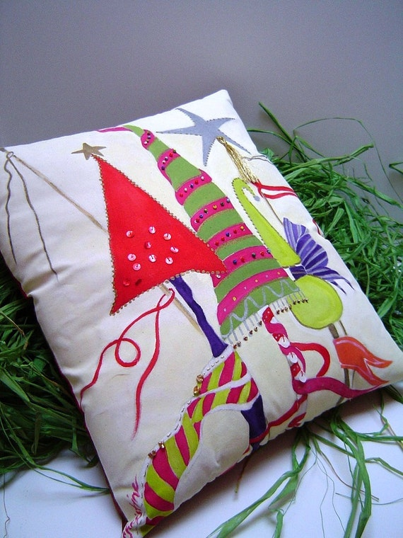 Christmas whimsey pillow decorative hand painted for Hand painted pillows