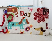 Pet Mess Clean Up Bag / Lucky Dachshund fabric  / Pet Leash Purse