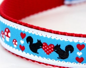 Squirrels and Hearts Dog Collar / Pet Accessories / Handmade / Adjustable / Last One