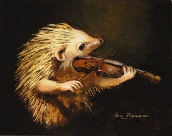 "Hedgehog with violin- Serenade- 11x14"" - Giclee Cavas Print"