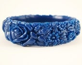 Dark Royal Blue Resin Floral Bracelet