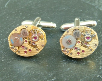 Stunning gold watch movement cufflinks ideal gift for a wedding, birthday or anniversary