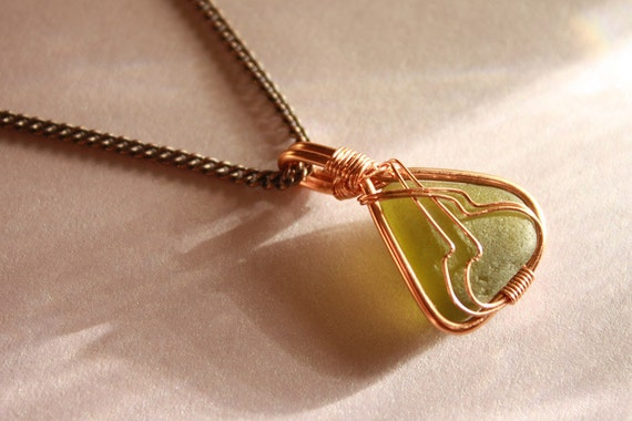Olive Green Sea Glass - Art Nouveau Copper Wire-Wrapped Pendant