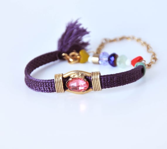 25% SALE Dark purple cotton bracelet
