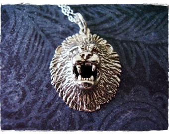 Silver Roaring Lion Head Necklace - Sterling Silver Lion Head Charm on a Delicate Sterling Silver Cable Chain or Charm Only