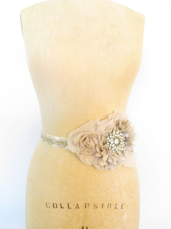 CUST0M Bridal Sash Belt with Vintage Jewels for TERRELL