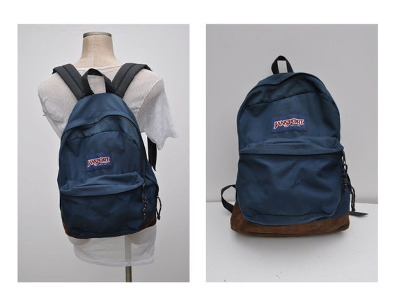 vintage backpack with leather bottom JANSPORT carry on daypack day pack