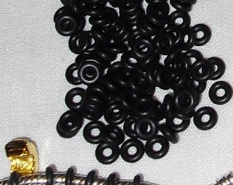 50 Black Rubber Stopper Beads or rings that Fit European under Clip Beads USA Seller