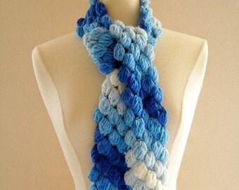 Crochet Scarf Neckwarmer Blue Womens Puffy Bobble